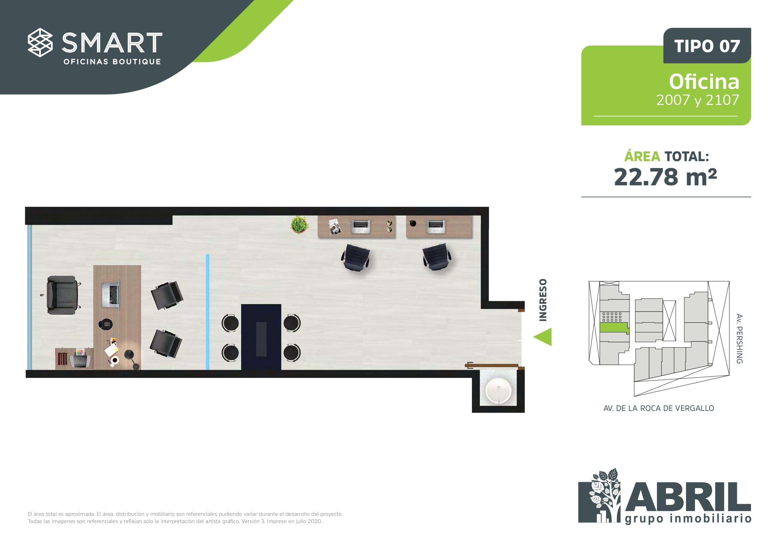 Área total: 22.78 m2