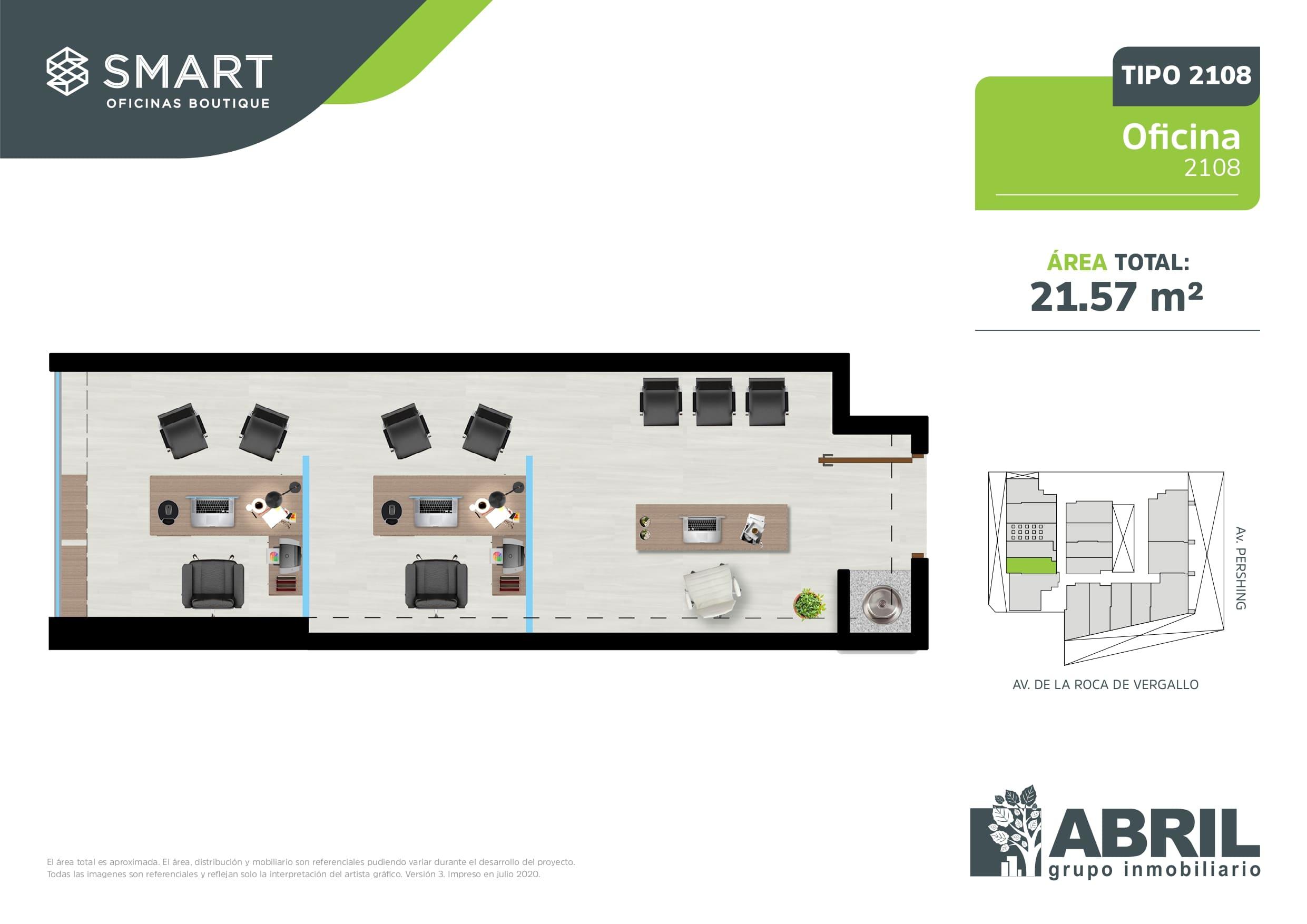 Área total: 21.57 m2
