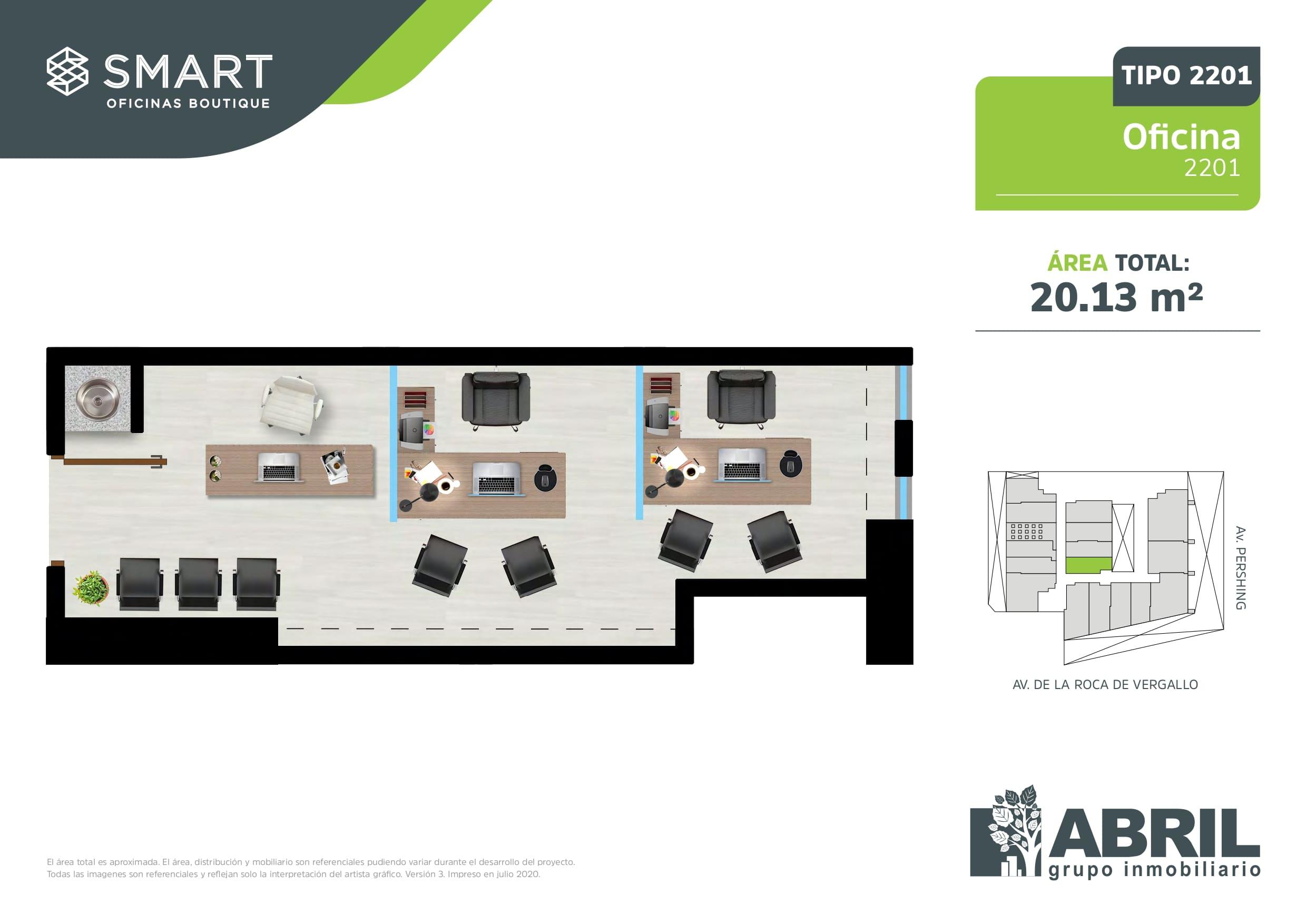 Área total: 20.13 m2